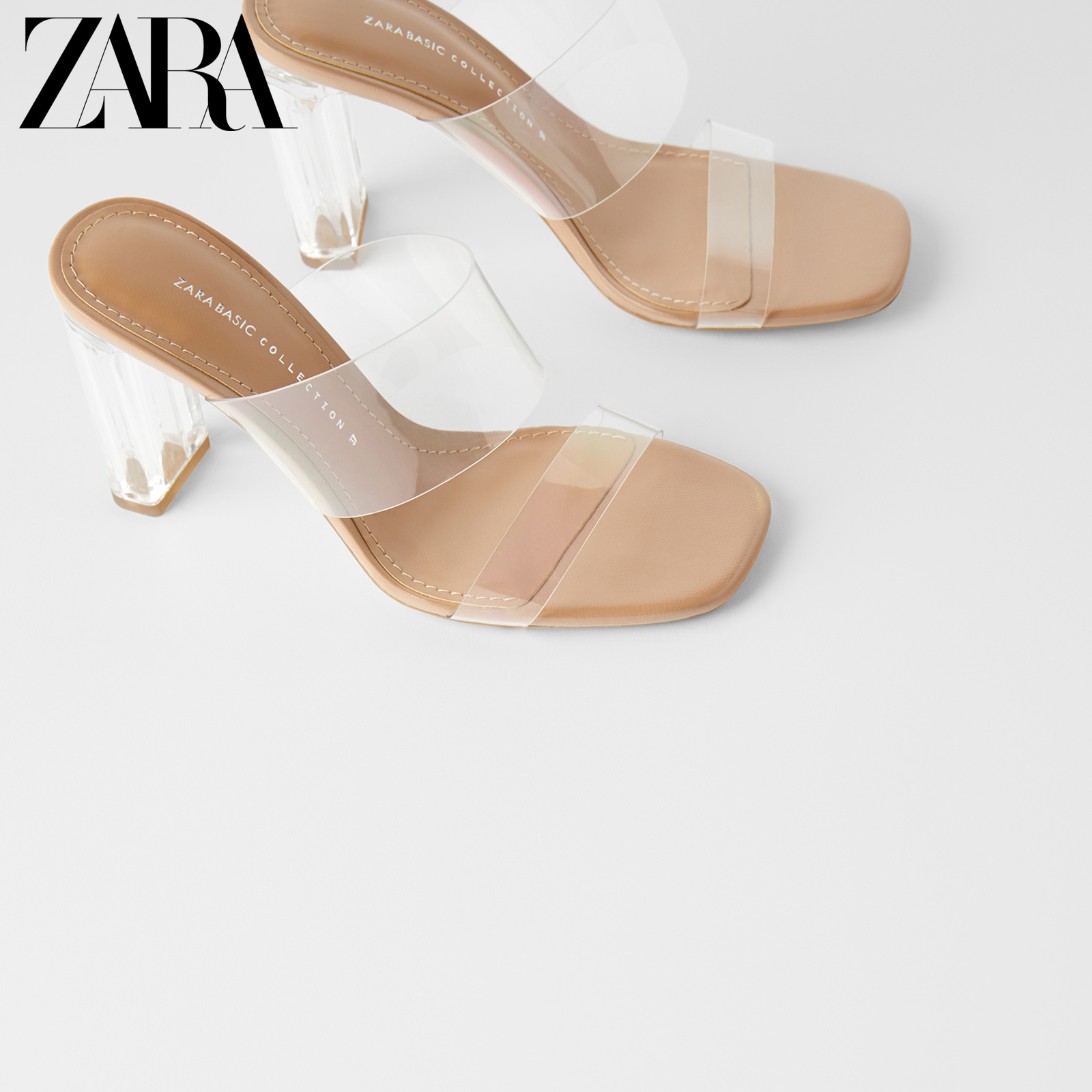 Zara women's shoes natural color acrylic high heel plastic crystal sandals 12316001111