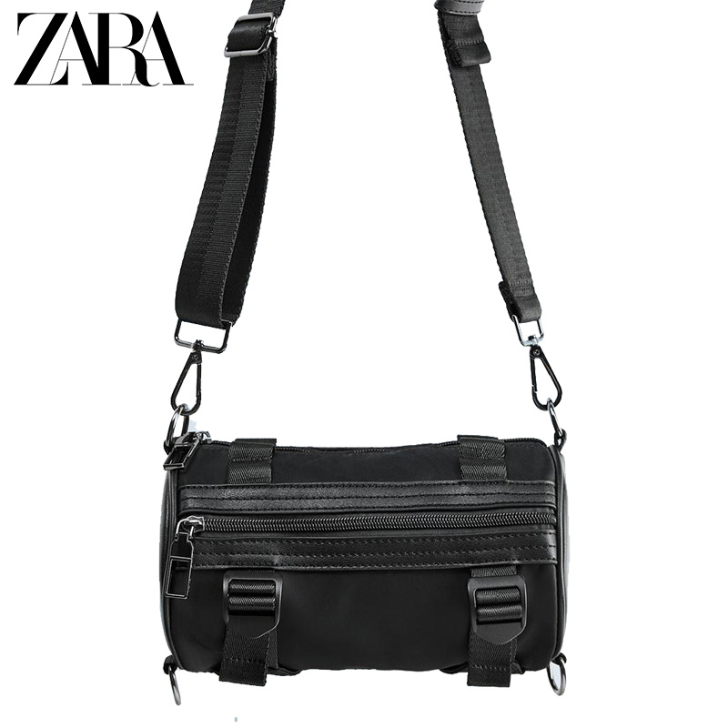 Zara new men's bag black tube black fashion casual waist bag messenger bag 13528005040