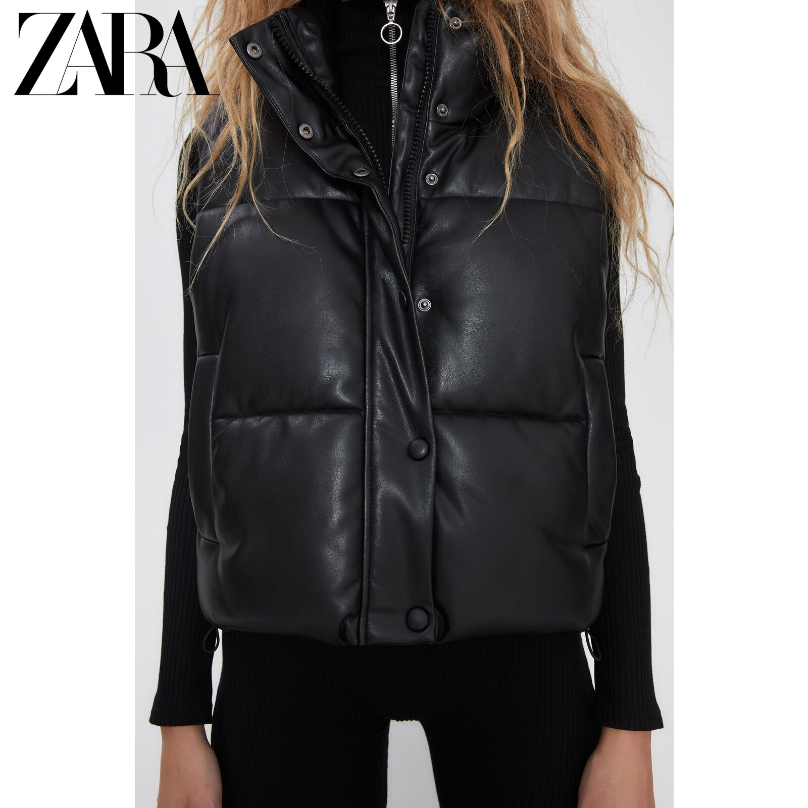 ZARA new TRF women's clothing leather texture effect cotton vest 04341776800