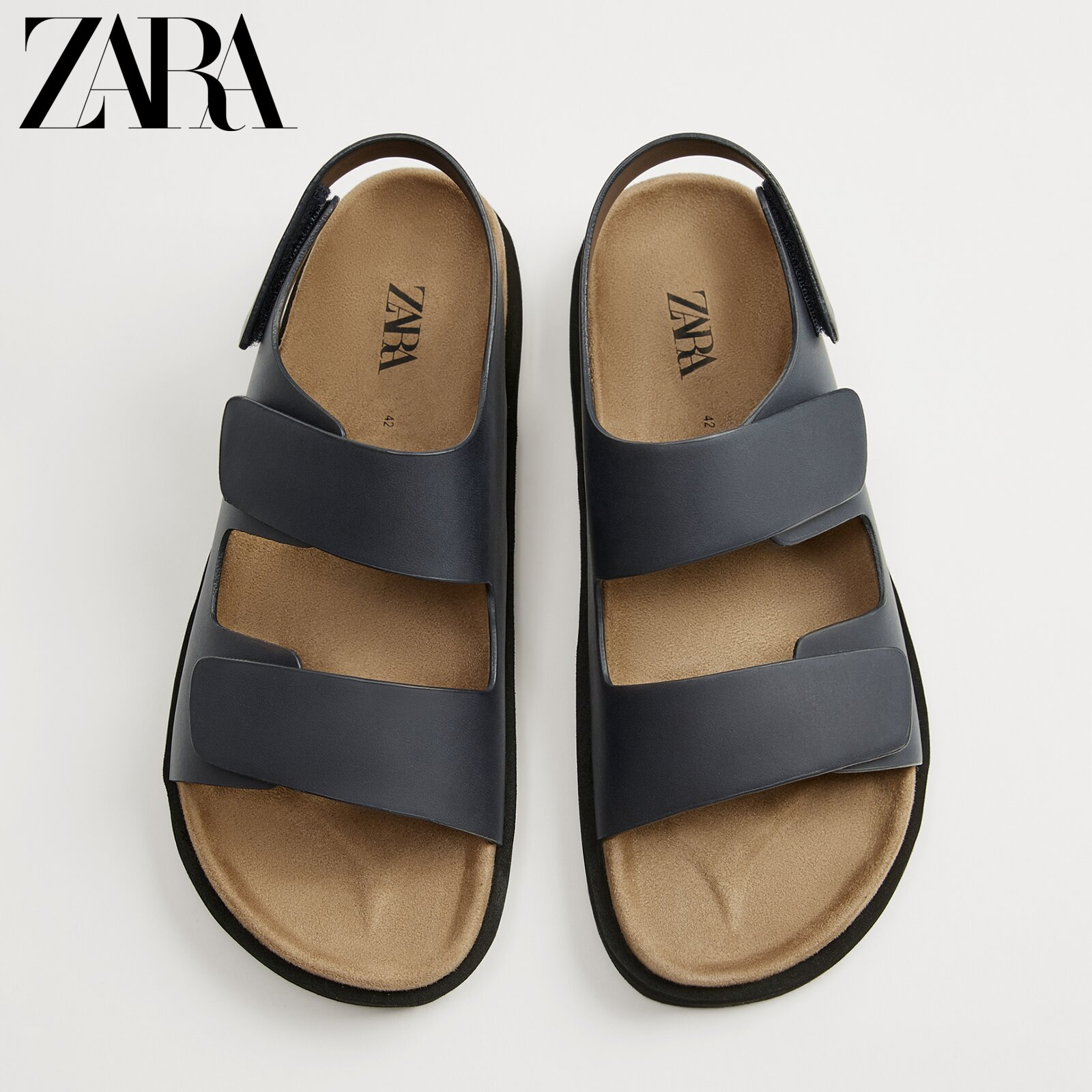 Zara new men's shoes navy blue magic lace sandals beach shoes 12714720010