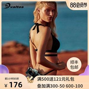 valtos比基尼小胸聚拢显瘦泳装三点式复古大胸性感分体黑色泳衣女