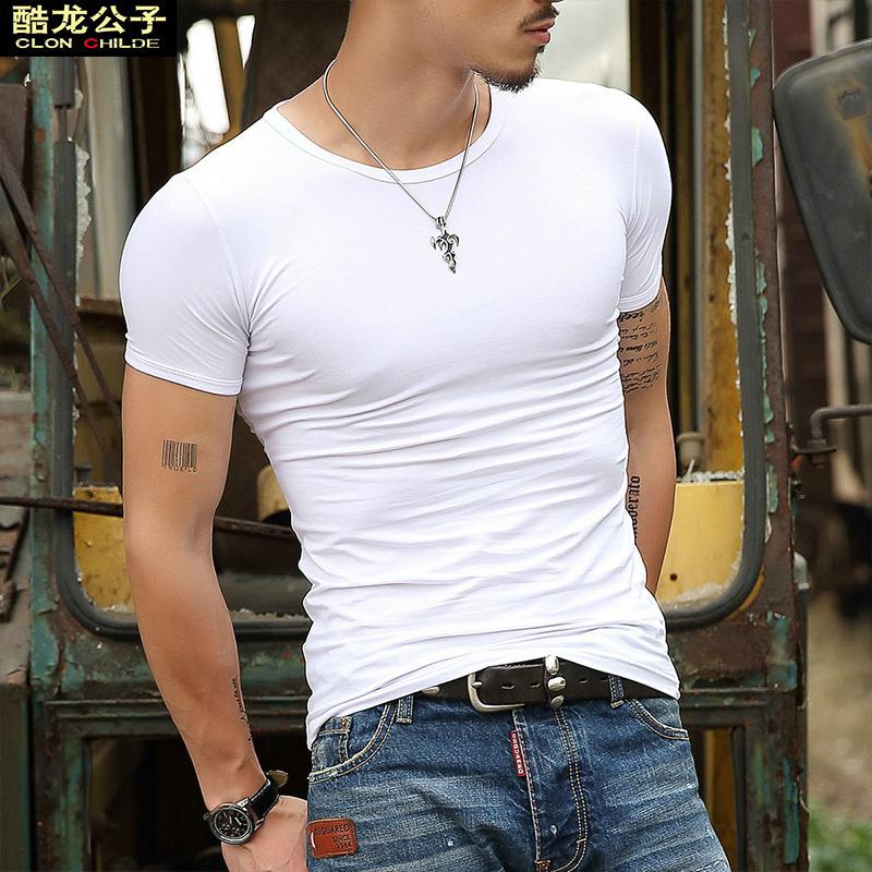 28.00元包邮纯白色短袖t恤男士半袖纯棉纯色打底衫长袖修身体恤紧身衣服汗衫