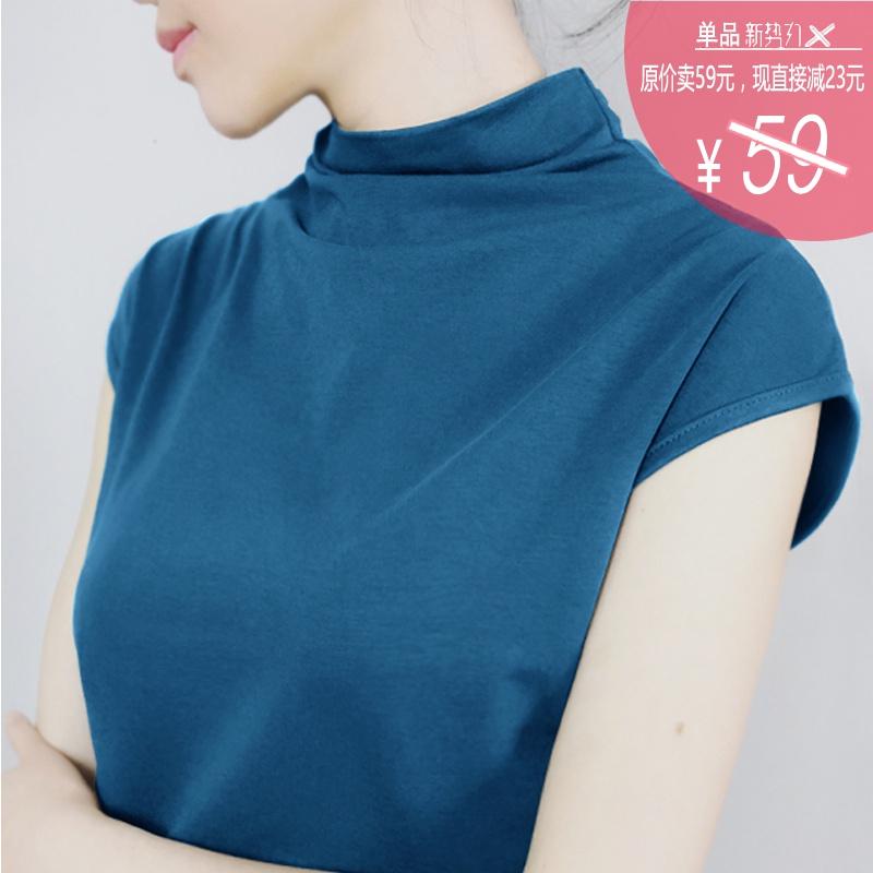 春夏季新品韩版纯棉半高领短袖t恤女打底衫宽松纯色背心修身上衣图片