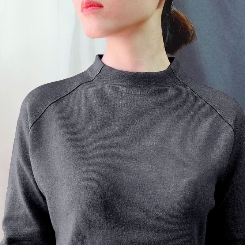秋冬新品厚款半高领针织衫长袖纯色宽松大码羊绒毛衣打底衫女上衣
