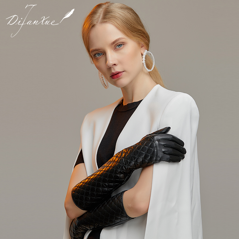 Tiffany snow leather gloves womens autumn and winter thin goat skin touch screen protector warm long sleeve performance fashion