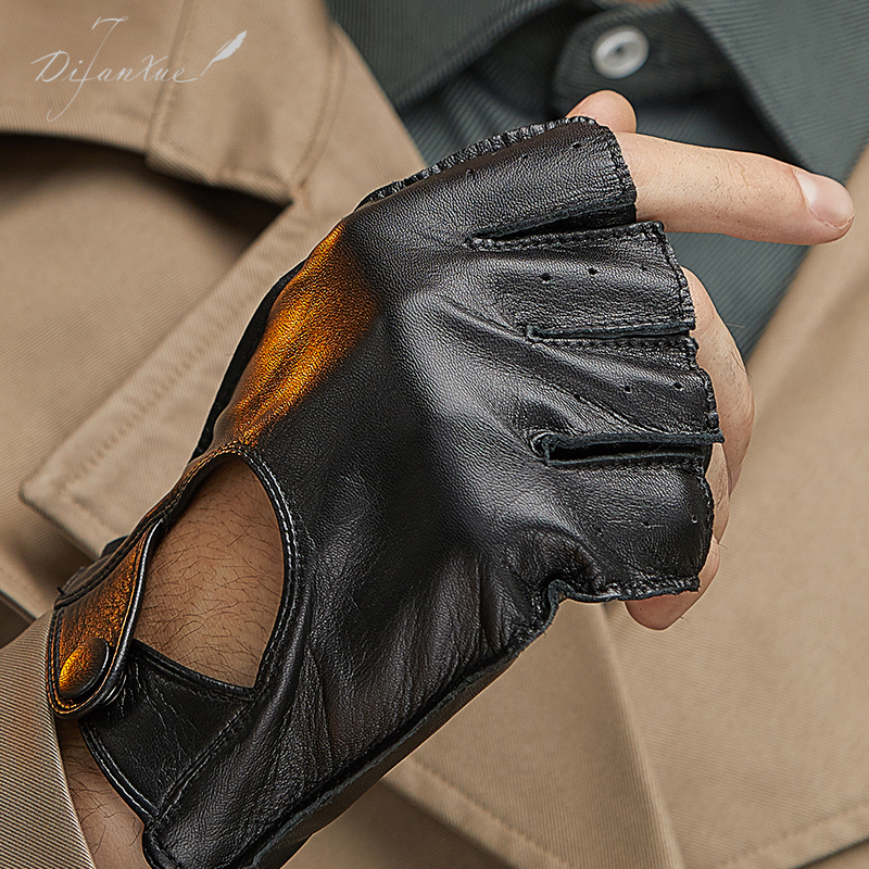 Tiffany snow leather gloves mens Half Finger thin goatskin thermal motorcycle motorcycle riding bicycle