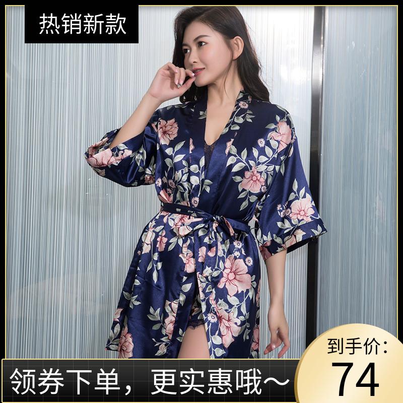 植物花卉睡衣女夏性感冰丝绸睡袍两件套装吊带睡裙蕾丝大码家居服