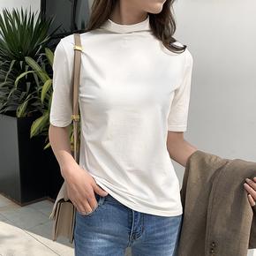 半高领短袖女T恤宽松小衫2020春装中袖五分袖打底衫半袖中领上衣