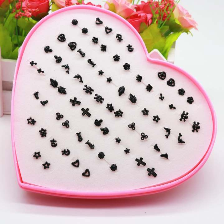 Anti allergy Mini earrings and earrings, 36 pairs of anti-inflammatory plastic needles, colorful black and white, simple and versatile female students
