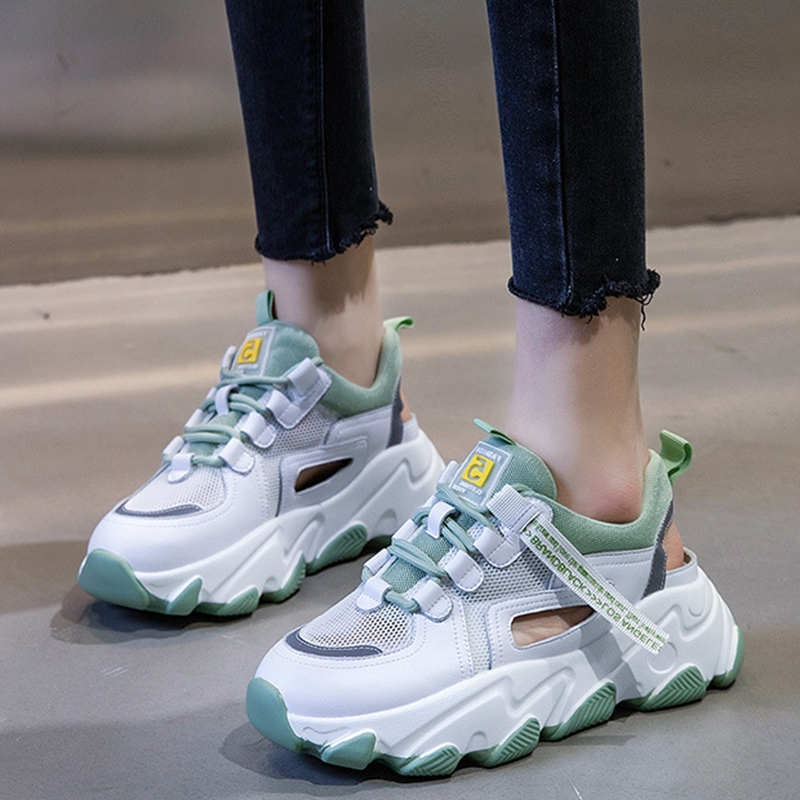 Mesh breathable shoes, Dads shoes, womens fashion, 2020 summer new single mesh, hollow out, thick sole, show feet, small sports sandals