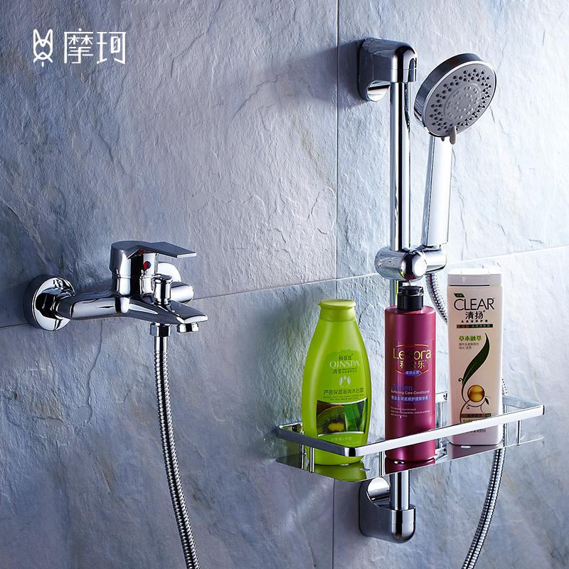 浴缸龍頭 冷熱淋浴三聯水龍頭混水閥浴室明暗裝簡易花灑套裝全銅