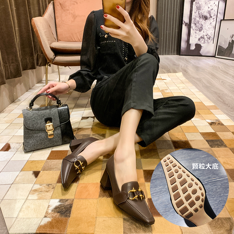 Thick heel square head single shoes spring and autumn 2020 new versatile British style small shoes girls square button Retro High Heels