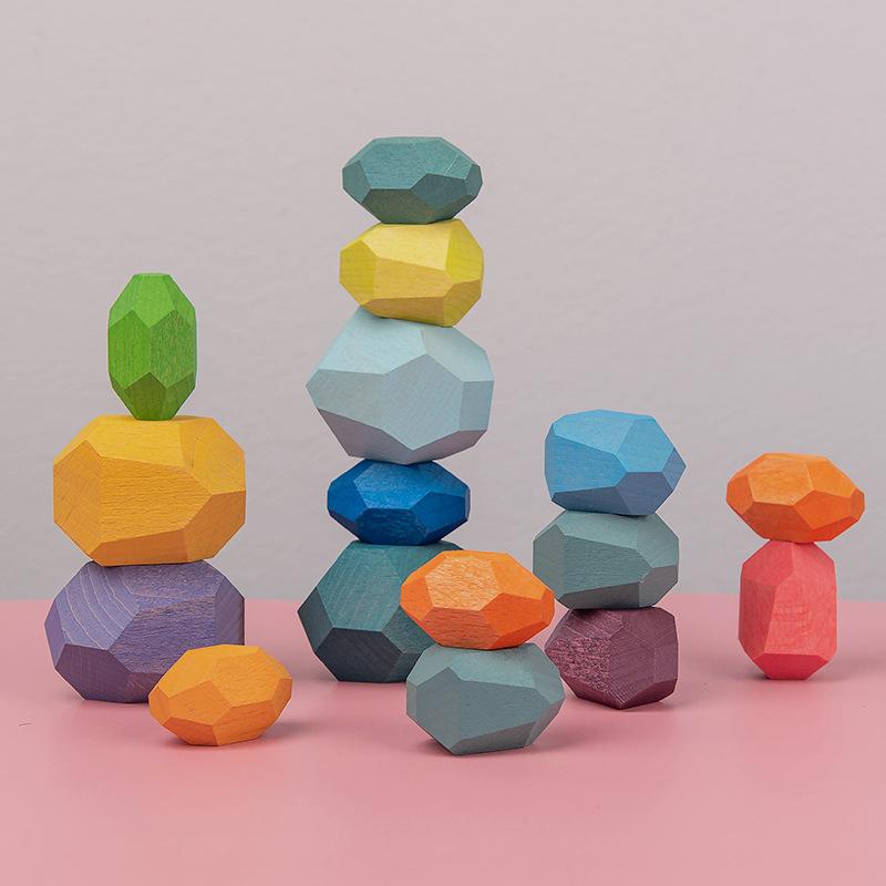 ins实木彩色石头积木玩具叠叠高乐儿童艺术专注力游戏环保平衡18.99元