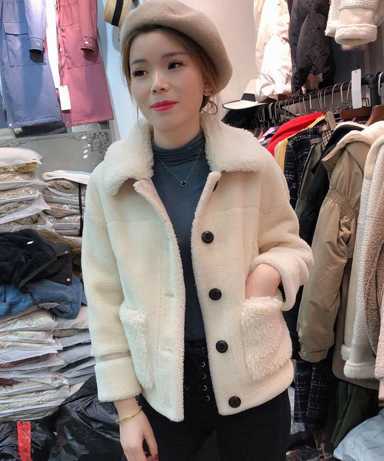 羊羔毛外套女加绒短款小个子2018冬季加厚上衣仿皮毛一体羊剪绒