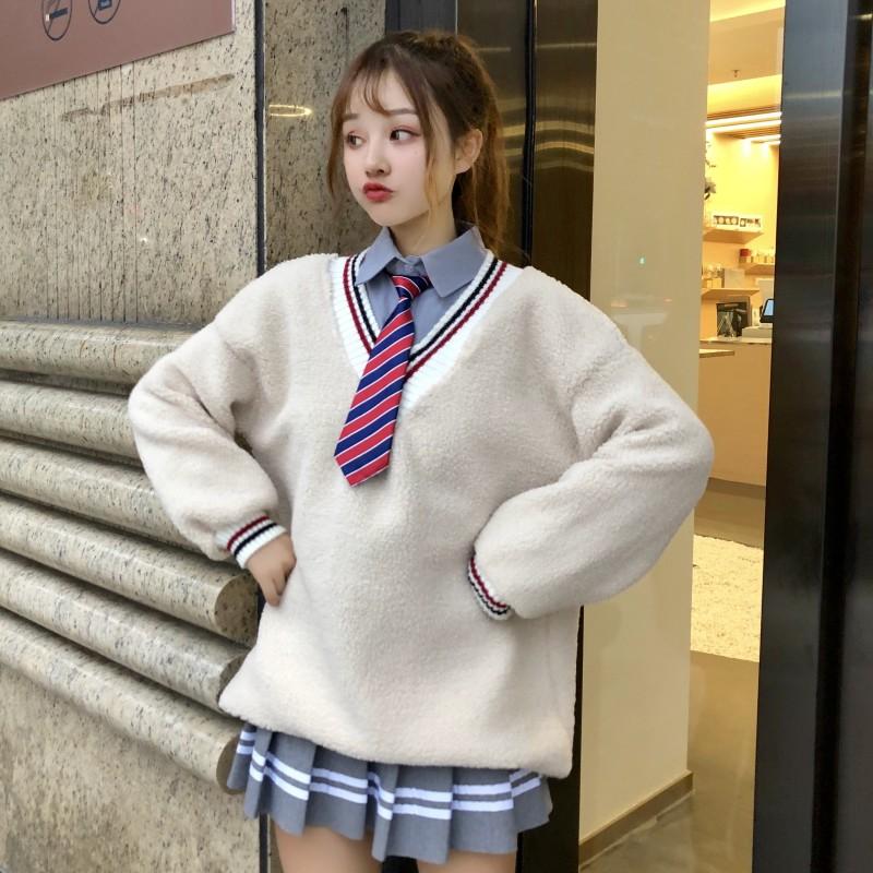 三件套秋冬女装韩版长袖衬衫+百褶半身裙+V领毛毛卫衣学生套装女