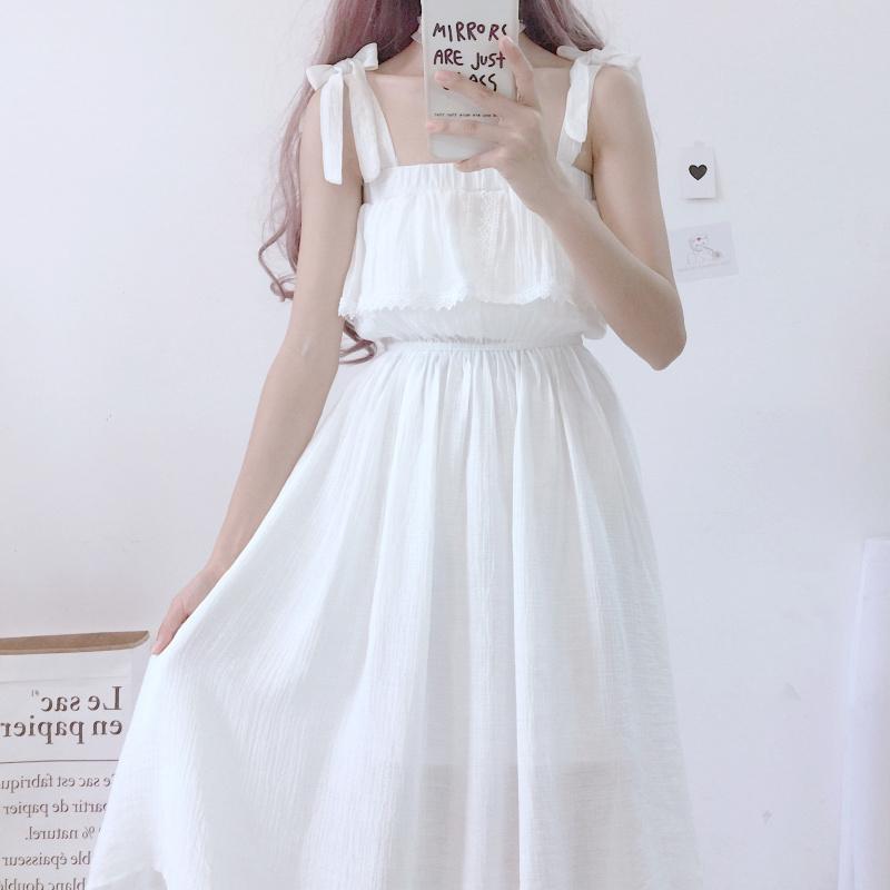 夏季女装新款日系甜美一字领露肩系蝴蝶结高腰吊带连衣裙夏小清新