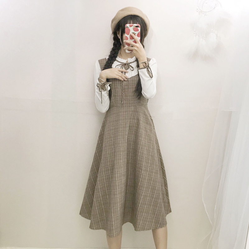 秋装新款女装日系甜美复古假两件宽松显瘦格子系带中长款连衣裙子