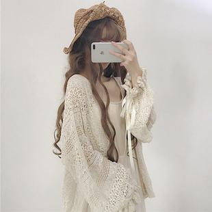 2018秋装女装韩版可爱少女蕾丝宽松灯笼袖长袖中长款防晒开衫外套