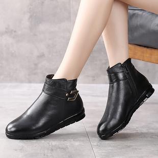 牛皮加绒保暖妈妈女棉鞋冬季短靴女靴单靴真皮软底中老年平底皮靴