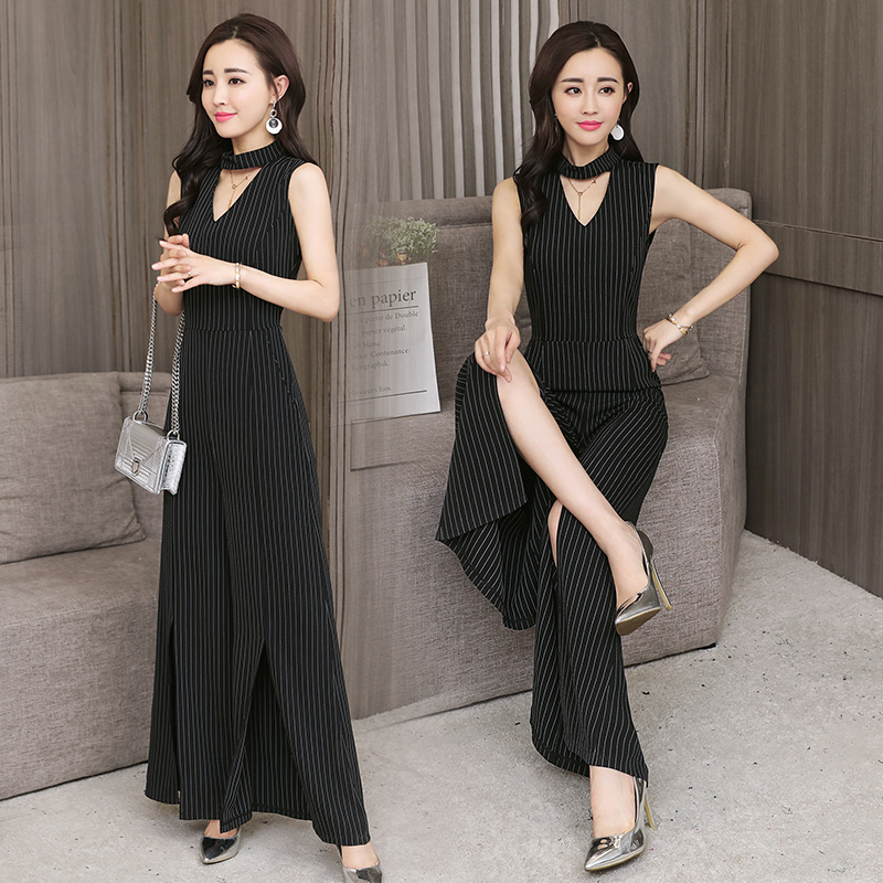 Real shot + small video 2020 spring / summer new Korean style ol wide leg pants striped Jumpsuit