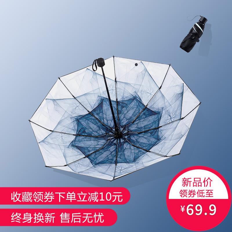 (用30元券)黑胶防晒太阳伞防紫外线折叠晴雨两用超轻便携迷你小巧五折遮阳伞