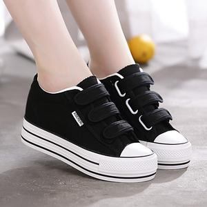 2021春秋季新款厚底内增高帆布鞋女鞋魔术贴百搭学生黑色小白鞋子
