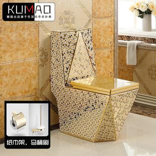 家用抽水金色马桶虹吸式 节水欧式 坐便器方形钻石彩色陶瓷座便器