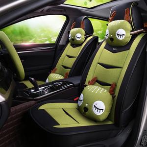四季通用汽车坐垫全包围座垫亚麻座椅套专用车垫夏季男女卡通座套