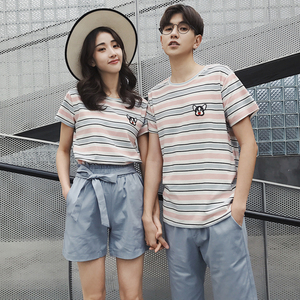 2019同色系情侶裝夏沙灘裝條紋套裝