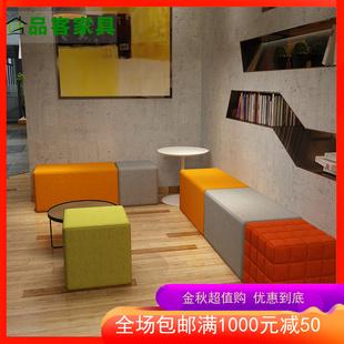 简约现代培训机构家长等候休息区幼儿园早教接待办公会客沙发组合