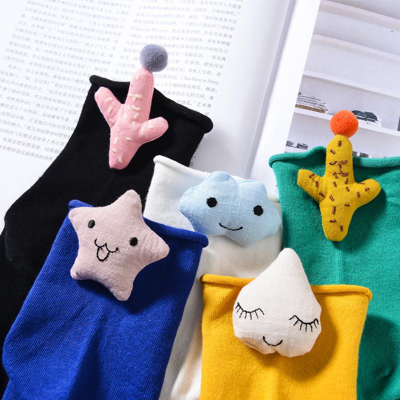 袜子女纯棉卡通可爱云朵雨滴中筒袜韩版甜美笑脸表情学院风堆堆袜