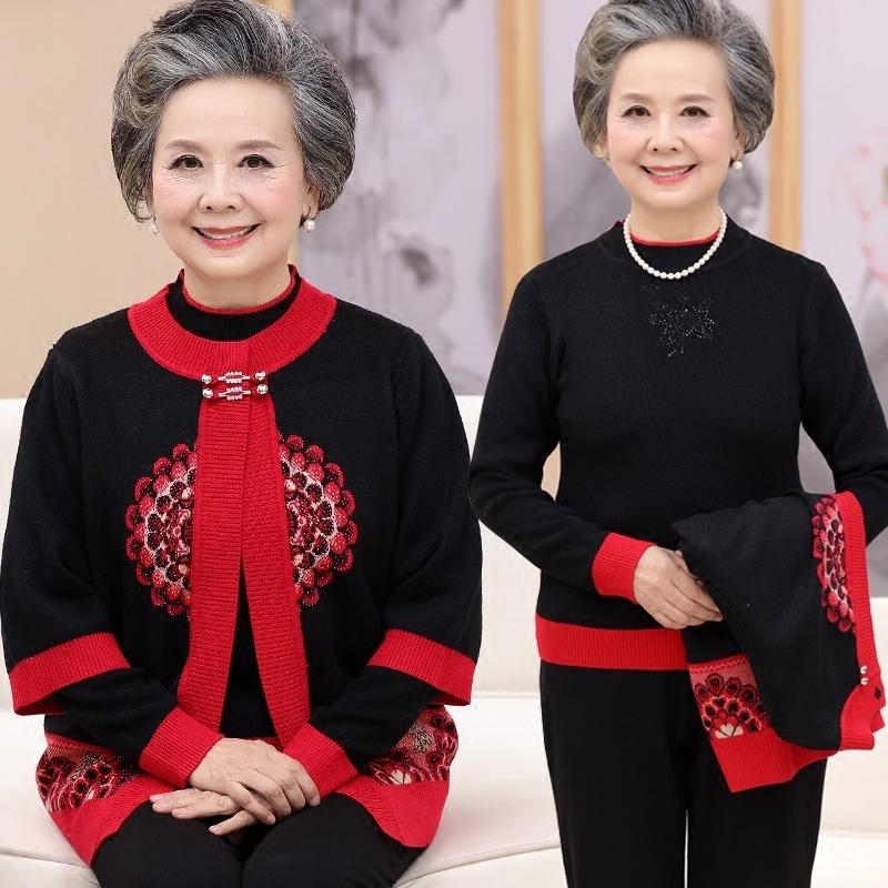 中老年春装女两件套上衣老年人开衫60-70岁妈妈唐装衣服奶奶毛衣