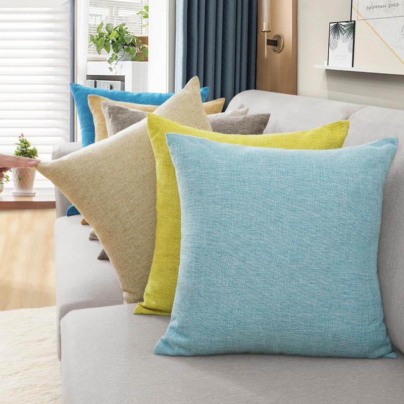 北欧抱枕沙发靠枕床头靠背垫办公室腰枕靠垫布艺亚麻抱枕套不含芯