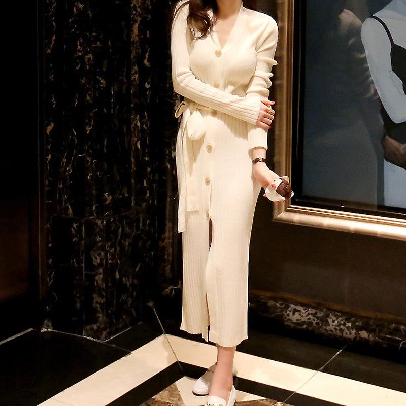 2019秋装新款韩国女装过膝长裙毛衣裙系带侧开叉针织连衣裙8923