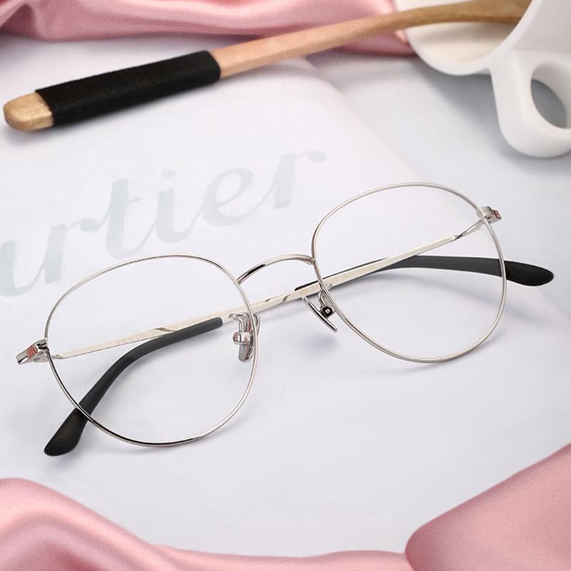 HAN超轻纯钛眼镜框架男防蓝光防辐射电脑平光眼睛手机眼镜护目女