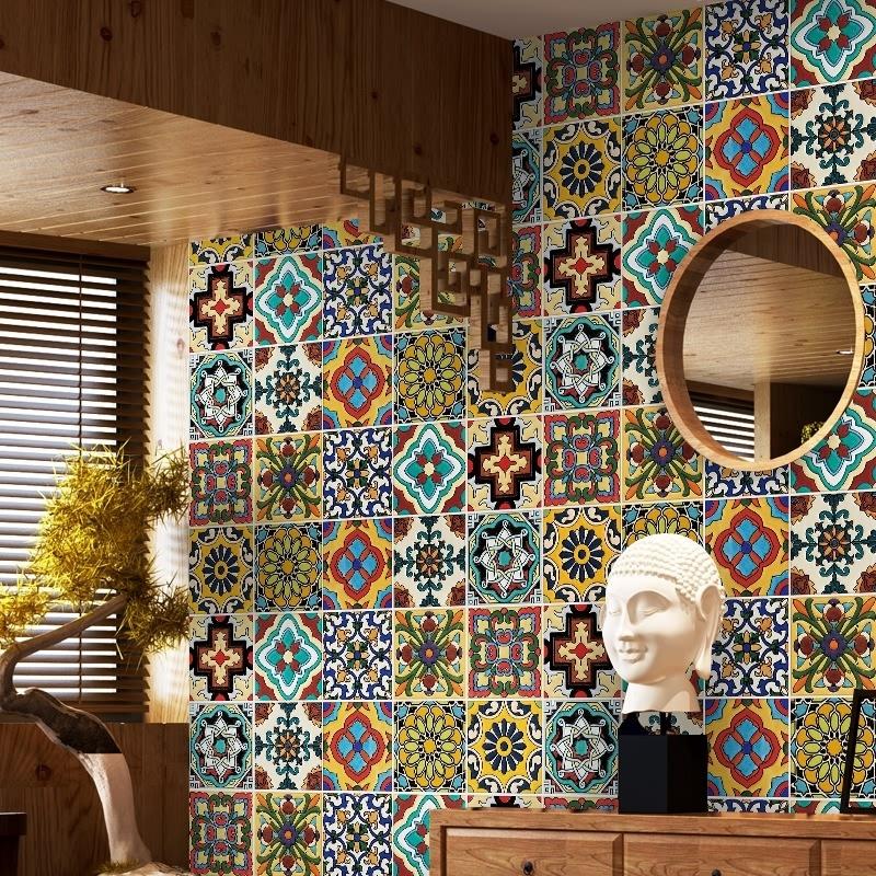 (用13元券)地中海卫生间浴室防水瓷砖贴纸装饰墙纸地贴自粘墙贴厨房防油贴纸