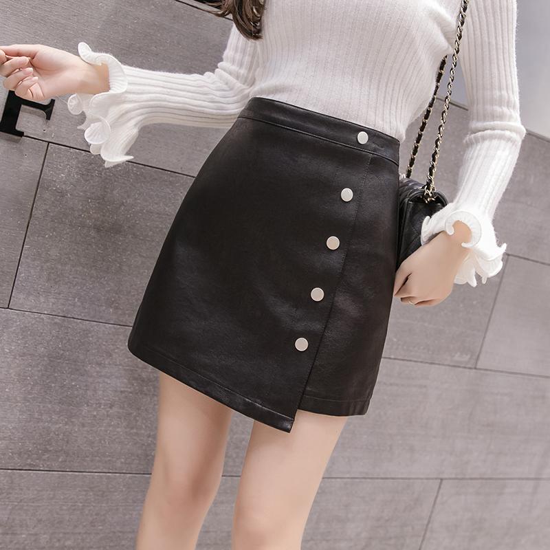 Irregular PU leather skirt womens 2021 high waist spring and autumn skirt shows thin buttocks A-line net red short skirt A-type
