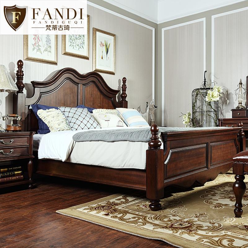 简约1.8米胡桃木纯主卧室美式床(非品牌)