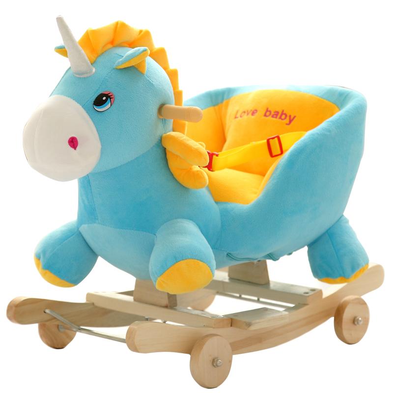皮皮龍兒童早教嬰兒玩具實木木馬搖馬音樂兩用搖椅搖搖車寶寶