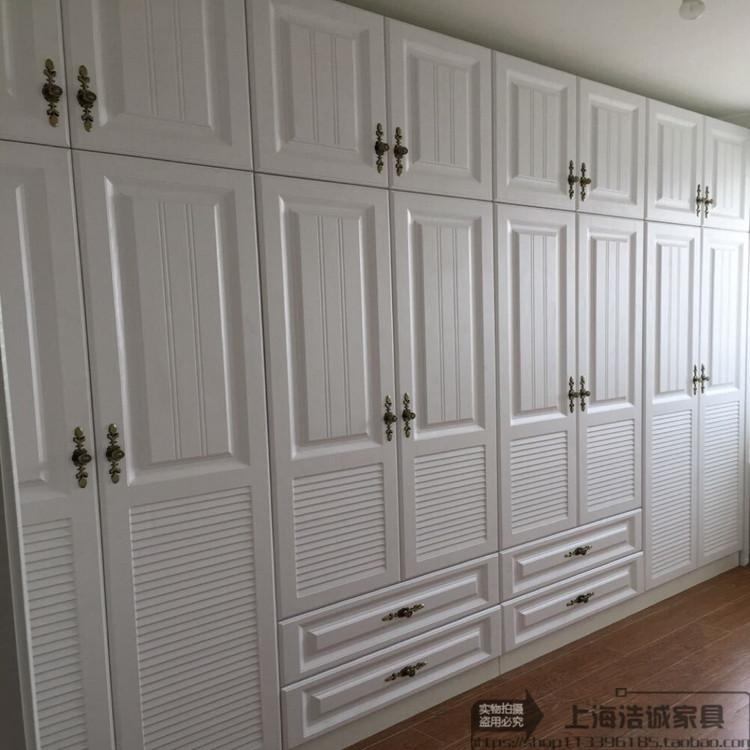 买三送一上海定制整体衣柜欧式模压门开门衣橱兔宝宝板材衣帽间储蓄柜环保