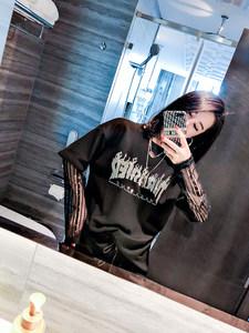 歐洲站2019冬新款韓版純棉磨毛打底衫上衣假兩件洋氣蕾絲袖T恤女