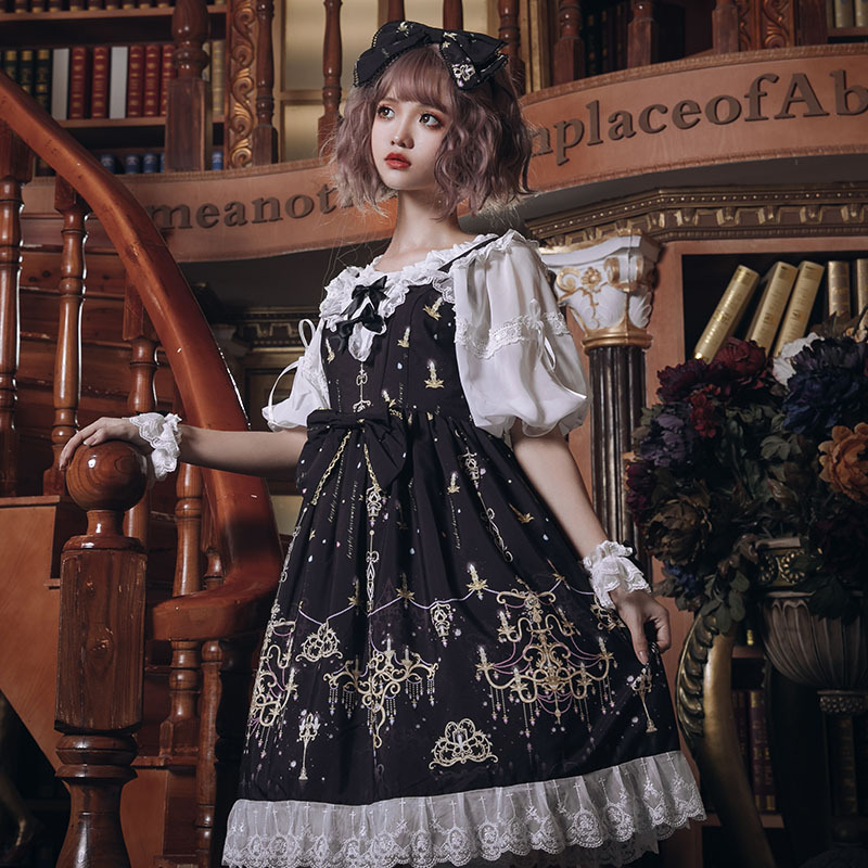 Original gem chandelier Lolita Dress full set of dark series Chinese daily jsk dress