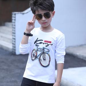 男童长袖T恤2021新款春秋儿童纯棉打底衫中大童白色衣服男孩上衣