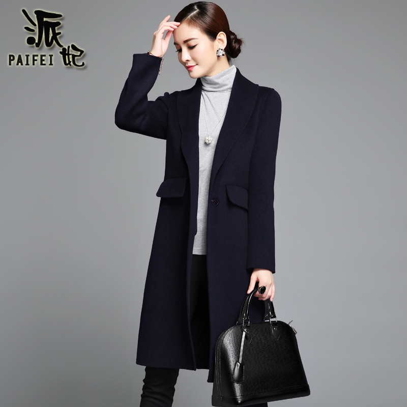 2020 winter new double-sided woolen coat female Korean style slim no cashmere small woolen coat mid-length professional wear