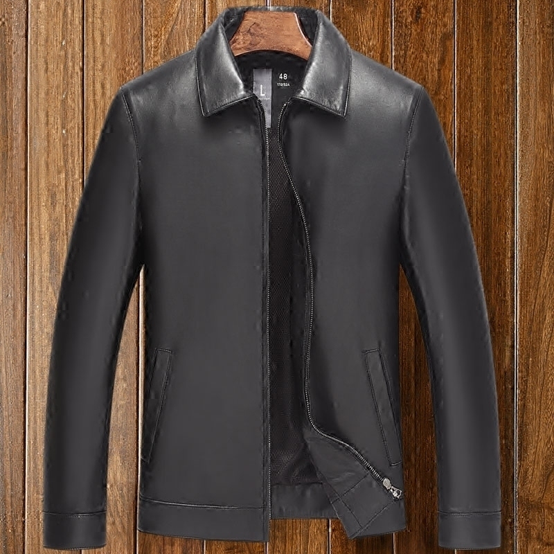 Leather leather men's sheepskin 2020 new Haining pills middle-aged dad jacket spring thin section