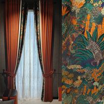 2021新款成品高档大气北欧简约轻奢窗帘橙色客厅卧室现代拼接遮光