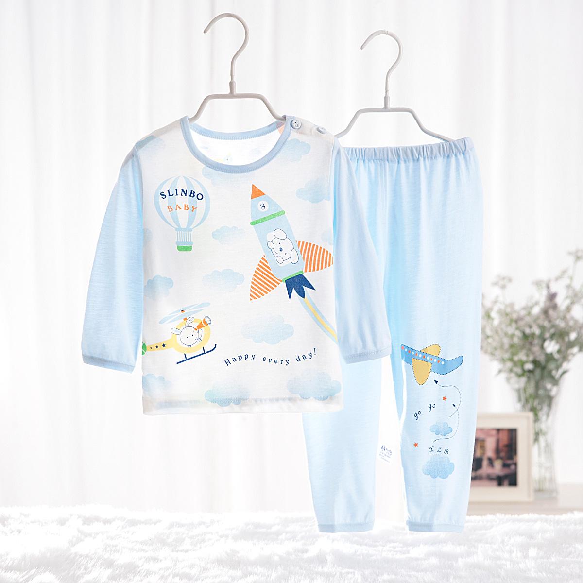 ~130~150碼~兒童竹纖維睡衣套裝男女大童內衣褲薄款 空調服