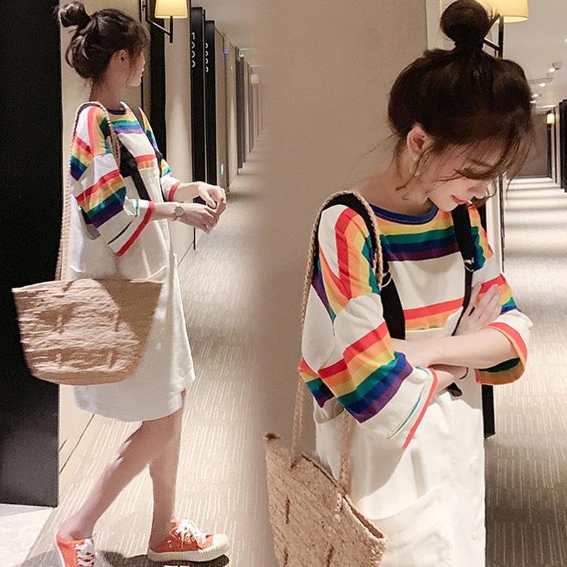 韩版胖mm显瘦遮肚子套装大码洋气减龄时髦遮肚背带连衣裙两件套夏