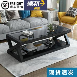 特价现代简易黑色钢化玻璃茶几桌子电视柜组合简约客厅欧式小户型
