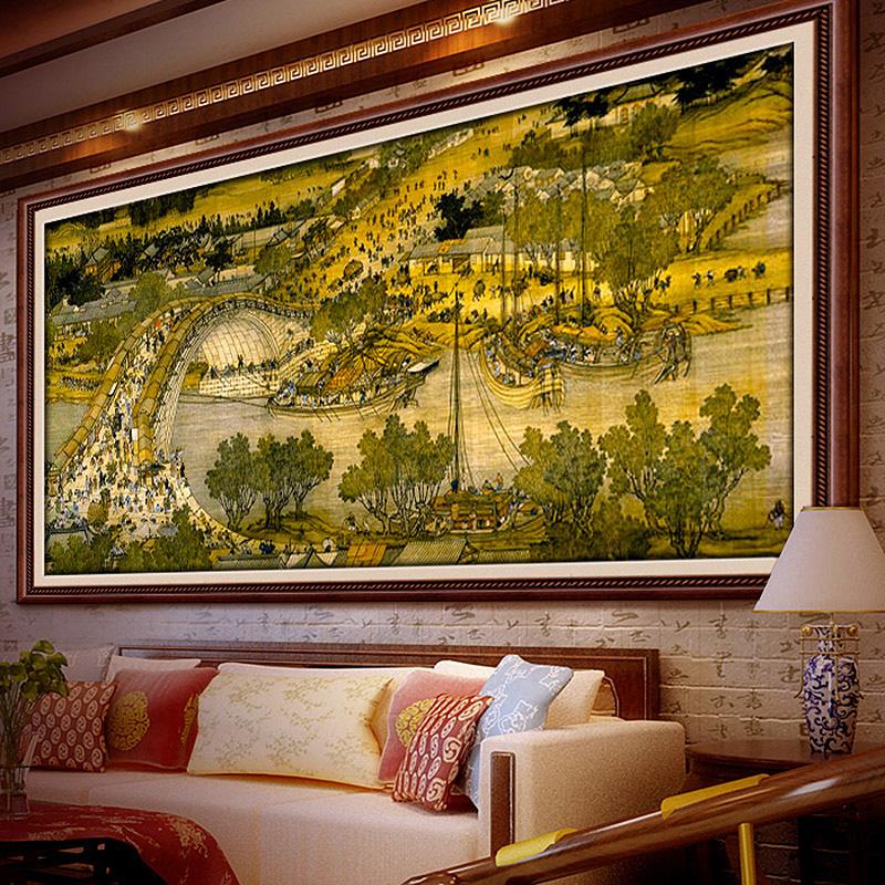 清明上河图十字绣全景线绣2018新款客厅山水画2米3m大幅印花风景